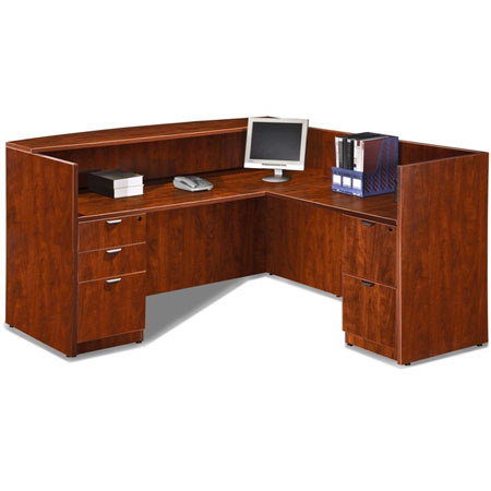Express EL Series Cherry Reception Desk with Floor-Length Drawers