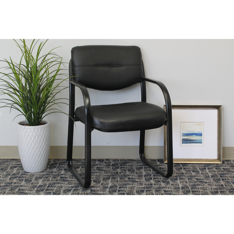 Black 9529 Sled Base Side Chair With Arms 155 Better Office Furniture